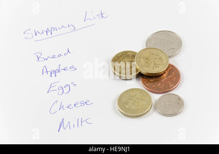 A shopping list and a handful of coins to pay for the items on the list.