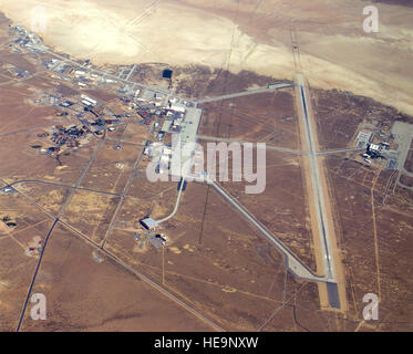 Overhead view is displayed for  Edwards Air Force Base, Calif. -- main base area. (U.S. Air Force photo) - Stock Photo