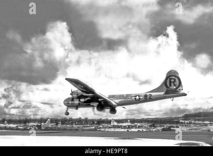 MAIRANAS ISLAND -- Boeing B-29 Superfortress 'Enola Gay' landing after the atomic bombing mission on Hiroshima, - Stock Photo