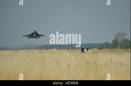 An F-15C Eagle takes off on a training mission with a Bulgarian aircraft at Graf Ignatievo Air Base near Plovdiv, - Stock Photo