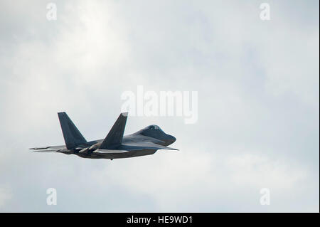 A U.S. Air Force F-22 Raptor takes off from Spangdahlem Air Base, Germany to participate in a training sortie over - Stock Photo