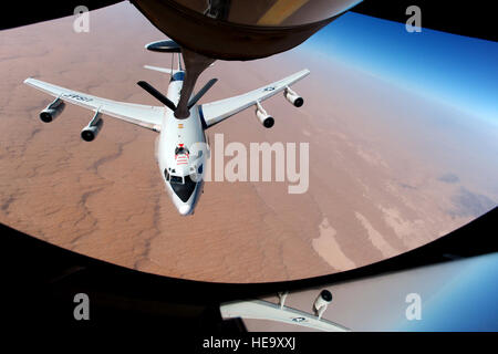 An E-3 Sentry, also known as airborne warning and control system or AWACS, from the 963rd Expeditionary Airborne - Stock Photo