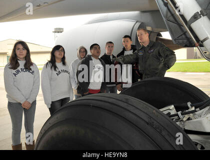 First Lt. Mark Watson, 351st Air Refueling Squadron, gives Air Force Junior Reserve Officer Training Corps cadets - Stock Photo