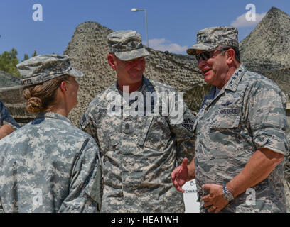 Army Lt. Col. Lisa Bartel, 5th Battalion commander, 7th Air Defense Artillery Regiment, 10th Army Air and Missile - Stock Photo