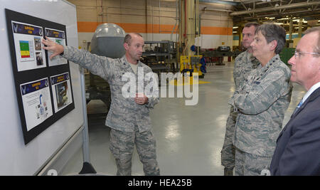 Air Force Col. Eric Jackson, 309th Missile Maintenance Group commander, provides a missile maintenance overview - Stock Photo