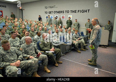Air Force Maj. Gen. Rick Martin, U.S. Air Force Expeditionary Center commander, provides comments to airmen and - Stock Photo