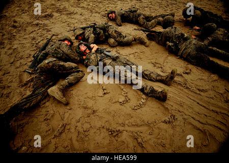 U.S. Marine Corps recruits conduct daytime movement simulations during Marine Corps Recruit Training at Marine Corps - Stock Photo