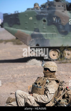 U.S. Marine Corps Jeremy Philson, 1st Battalion, 4th Marine Regiment, from Camp Pendleton, Calif., waits at a defensive - Stock Photo