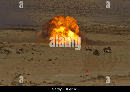 An M58 mine clearing line charge explodes during Integrated Training Exercise 2-15 at Twentynine Palms Marine Corps - Stock Photo