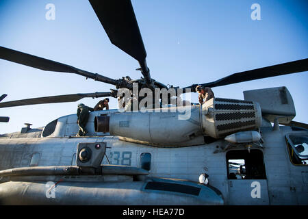 U.S. Marine maintainers and flight crew chiefs perform a preflight inspection on a CH-53E Super Stallion helicopter - Stock Photo