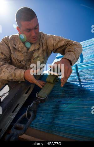 U.S. Marine Lance Cpl. Jacob Stevens, motor transport operator assigned to 2nd Battalion, 3rd Marines, Kaneohe Bay, - Stock Photo