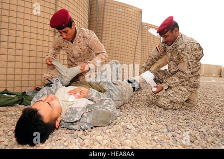 Iraqi soldiers from 4th Iraqi Army Engineer Regiment, treat a mock casualty's wounds while U.S. Soldiers from the - Stock Photo