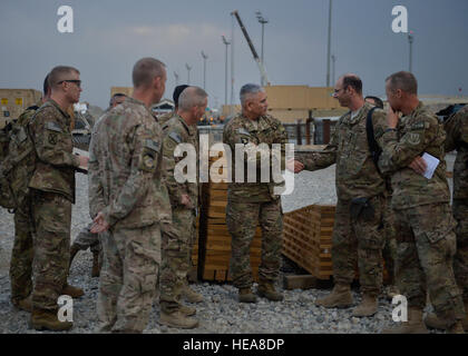 U.S. Army Gen. John Campbell, International Security Assistance Force and U.S. Forces- Afghanistan commander, shakes - Stock Photo