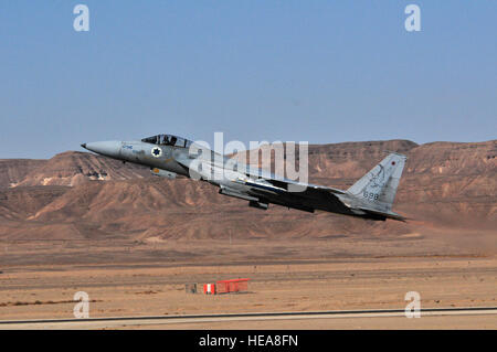 An Israeli Air Force F-15 departs on a mission during the Blue Flag exercise at Uvda Air Force Base, Israel,  Nov. - Stock Photo