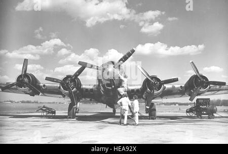 Front view of Boeing JB-17G. The aircraft is the B-17G-105-VE (S/N 44-85747), the test bed aircraft for the Allison - Stock Photo