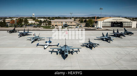 From the left, a German Air Force AG-51 Tornado, Republic of Singapore F-15SG, Royal Canadian Air Force CF-18 Hornet, - Stock Photo