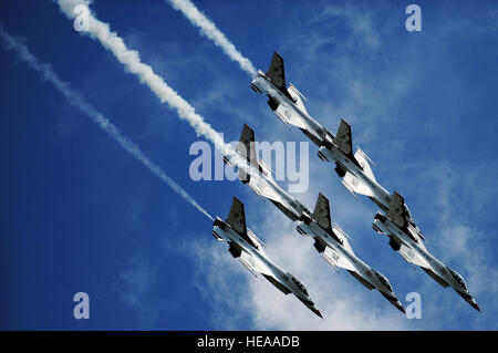 The U.S. Air Force Air Demonstration Squadron 'Thunderbirds,' perform the Delta Roll during the Joint Base Lewis - Stock Photo