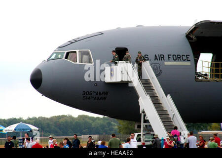 People attending the Airpower Over the Midwest Airshow line up to look at a static display of a KC-10 Extender from - Stock Photo