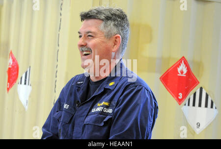 Coast guard Chief Warrant Officer 4 Bruce Jones, assigned to the Coast Guard Container Inspection Training Team, - Stock Photo