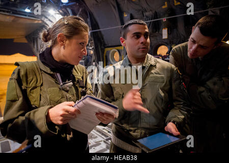 U.S. Air Force 1st Lt. Erin Wood, medical crew director, 18th Aeromedical Evacuation Squadron, Kadena Air Base, - Stock Photo