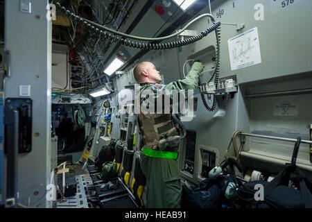 U.S. Air Force Staff Sgt. Patrick Roberts, aeromedical service journeyman, 43rd Aeromedical Evacuation Squadron, - Stock Photo