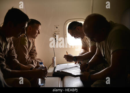 Joint Surveillance Target Attack Radar Systems aircrew and 7th Expeditionary Air Mobility Unit maintenance airmen - Stock Photo