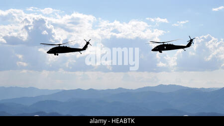 A pair of UH-60 Black Hawk helicopters assigned to Joint Task Force-Bravo's 1-228th Aviation Regiment cruise over - Stock Photo