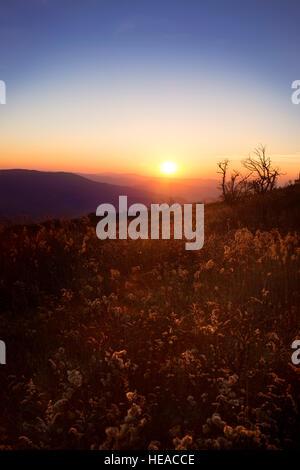 Sunset over Blue Ridge Mountains in Virginia - Stock Photo
