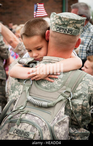 More than 300 friends and family members gathered at the Kentucky Air National Guard Base in Louisville, Ky., on - Stock Photo