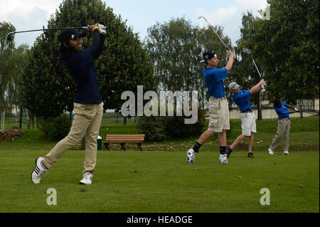 SPANGDAHLEM AIR BASE, Germany-- Bitburg High School students participate in a golf competition at the Eifel Golf - Stock Photo