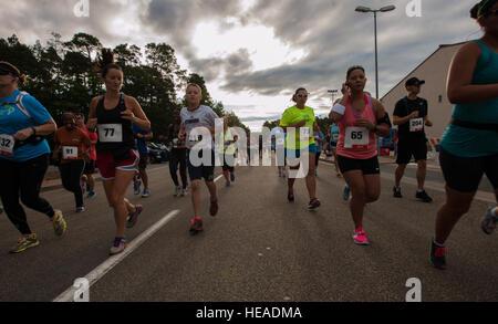 Kaiserslautern Military Community members start the 86th Force Support Squadron's annual Ramstein Half Marathon - Stock Photo