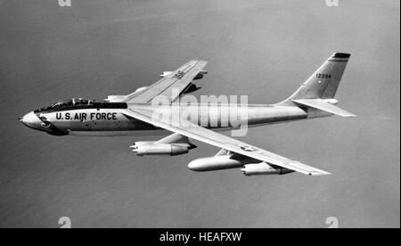 An overall view of a Boeing B-47 Stratojet aircraft in flight. The world's first swept-wing bomber.  7 April 1956 - Stock Photo