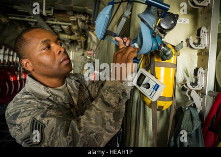 U.S. Air Force Staff Sgt. Johnny Glenn, aircrew flight equipment technician with the 94th Airlift Wing, Dobbins - Stock Photo