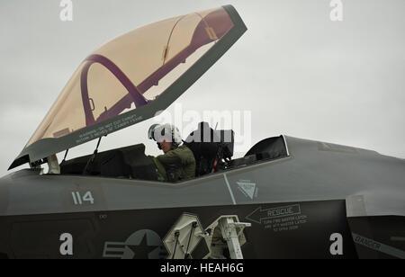 "U.S. Marine Lt. Col. J.T. ""Tank"" Ryan, Marine Fighter Attack Training Squadron 501 detachment commander and F-35 - Stock Photo"