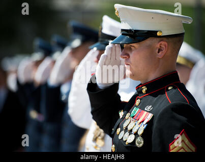 A Marine salutes during the retiring of the colors at the 45th Annual Explosive Ordnance Disposal Memorial Ceremony - Stock Photo