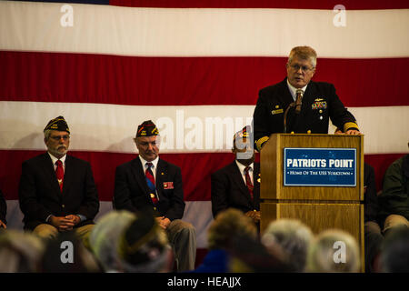 U.S. Navy Capt. Thomas Bailey, Joint Base Charleston deputy commander, addresses the audience during the Pearl Harbor - Stock Photo