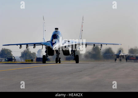 A Bulgarian Air Force MiG-29 Fulcrum aircraft taxis toward the end of runway before take off during exercise Rodopi - Stock Photo