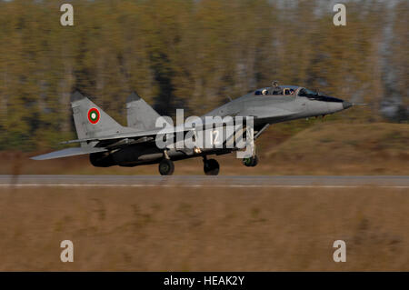 A Bulgarian Air Force MiG-29 Fulcrum aircraft takes off for a combat training mission during exercise Rodopi Javelin - Stock Photo