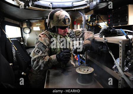 U.S. Air Force explosive ordnance disposal technician, Staff Sgt. Dustin Frey, from the 155th Nebraska Air National - Stock Photo