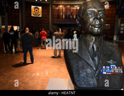 A statue of Gen. James H. Doolittle sits in the lobby of the Mighty Eighth Air Force Museum at Pooler, Ga., where - Stock Photo