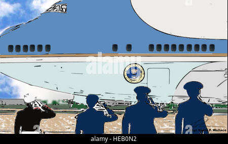 Digital art depicting Air Force Col. J.C. Millard, 89th Airlift Wing commander, members of the 89th AW flightline - Stock Photo
