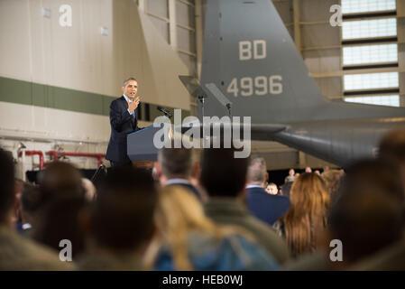 President Barack Obama delivers remarks Dec. 15, 2014, on Joint Base McGuire-Dix-Lakehurst, N.J. Obama expressed - Stock Photo