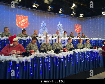 Members of the 171st Air Refueling Wing volunteered to take pledges from a phone bank for WTAE-TV's Project Bundle - Stock Photo