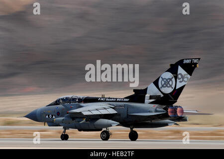A British Royal air rorce Tornado GR4 takes off from the Nellis Air Force Base Runway during Red Flag 11-3 March - Stock Photo