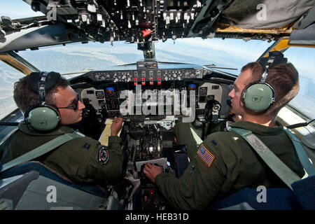 Capt. Taylor Ellington and 1st Lt. Matthew Street, both pilots assigned to the 92nd Air Refueling Wing, Fairchild - Stock Photo