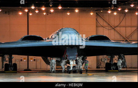 509th Aircraft Maintenance Squadron, maintainers and crew chiefs, prepare B-2 Stealth Bombers for Operation Odyssey - Stock Photo