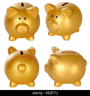 Set of golden piggy bank isolated over white background - Stock Photo