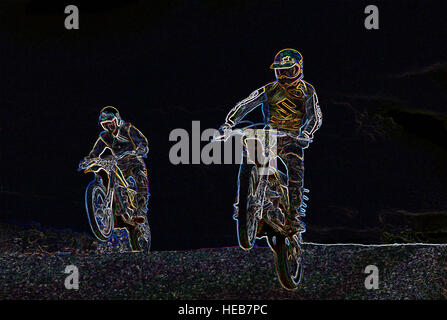 Motocross Riders racing in Race - Digitally Manipulated Image with Glowing Edges, Abstract Sport / Sports and Motorsport - Stock Photo
