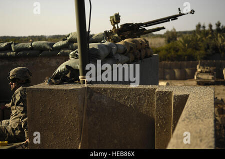 A U.S. Army soldier from Alpha Troop, 6th Squadron, 9th Armored Reconnaissance Regiment, 3rd Brigade Combat Team, - Stock Photo