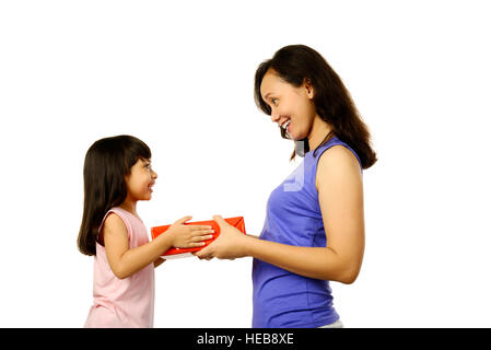 Picture of mother and daughter with gift box. Mothers day concept - Stock Photo